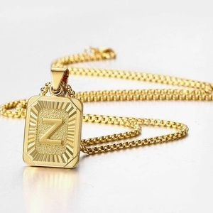 "22"" Men's Gold Initial Letter Necklace"
